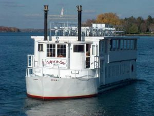 Bow of the Lady of the Lake as she navigates Lake Minnetonka bays