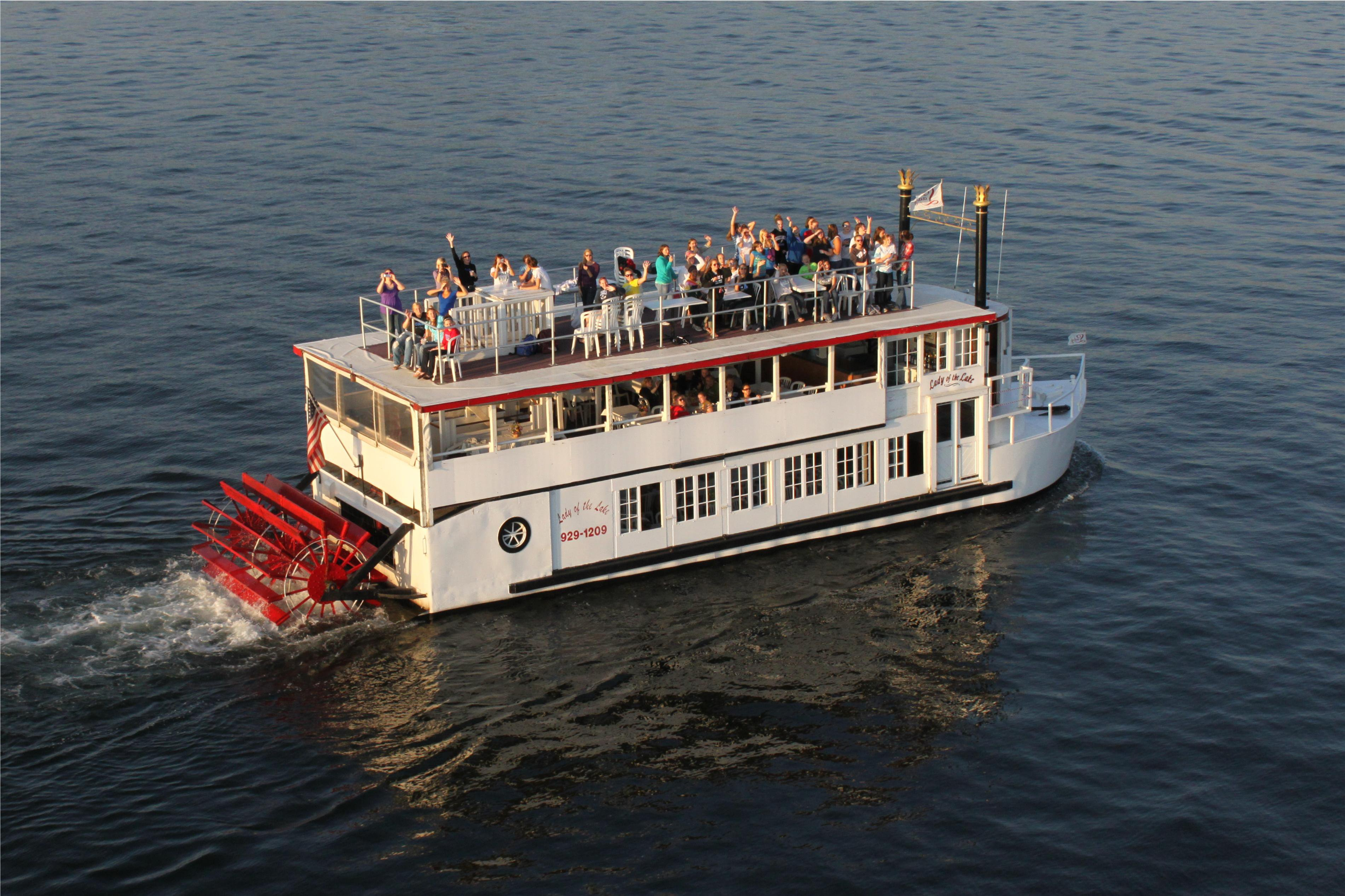 View of the Lady of the Lake on Lake Minnetonka from above.