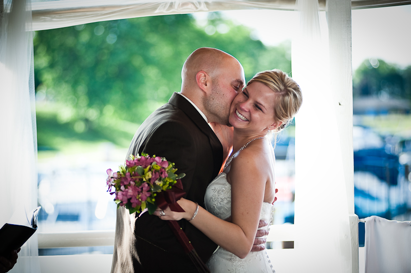 John and Denise enjoyed perfect weather for their wedding aboard the Lady of the Lake